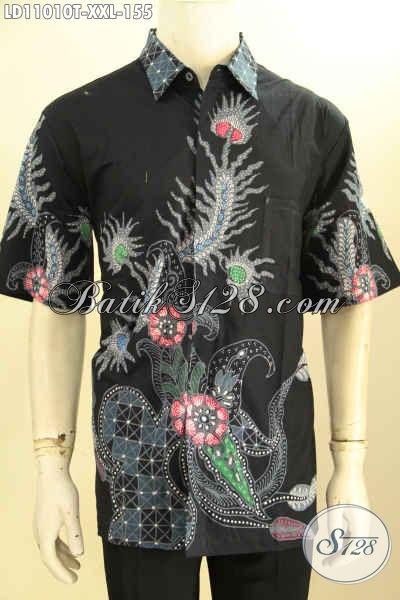 Baju Batik Tulis Untuk Pria Gemuk, Hadir Dengan Model Lengan Pendek Warna Hitam Motif Bagus Kwalitas Istimewa Namun Dengan Harga Yang Terjangkau [LD11010T-XXL]