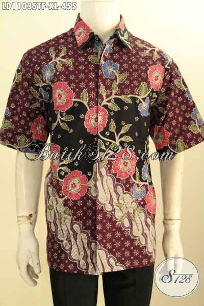 Baju Batik Solo Lengan Pendek Keren Terkini, Busana Batik Elegan Daleman Full Furing Mewah, Penampilan Terlihat Berkelas