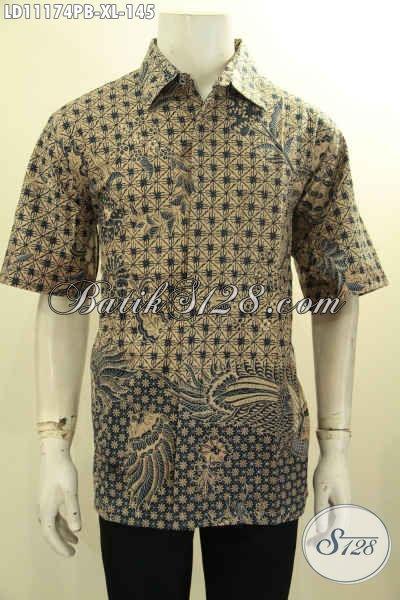 Jual Baju Batik Solo Terbaik Harga Terjangkau, Kemeja Batik Elegan Model Lengan Pendek Motif Bagus Proses Printing Cabut, Pas Buat Acara Formal [LD11174PB-XL]