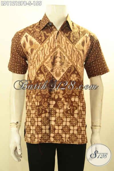 Hem Batik Trendy Model Lengan Pendek, Pakaian Batik Modis Halus Motif Kekinian Proses Printing Cabut, Pas BUat Ngantor Dan Hangout [LD11212PB-S]