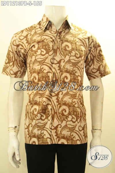 Toko Online Batik Branded Khas Jawa Tengah, Sedia Busana Batik Modern Lengan Pendek Spesial Untuk Pria Muda Motif Bagus Kwalitas Istimewa, Tampil Keren Dan Gagah [LD11213PB-S]