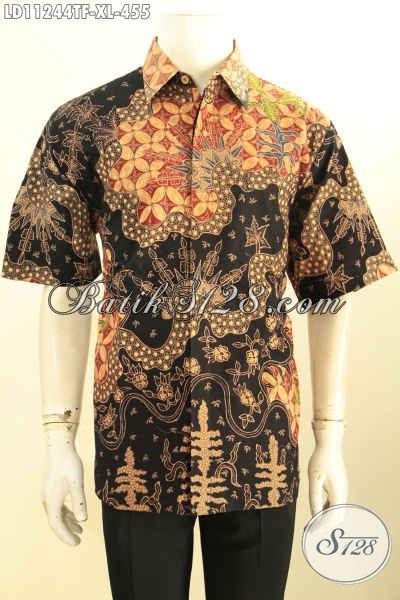 Baju Batik Bagus Dan Berkelas Model Lengan Pendek Spesial Untuk Lelaki Dewasa, Kemeja Batik Tulis Asli Khas Jawa Tengah Mewah Dengan Lapisan Furing, Pas Banget Untuk Acara Resmi [LD11244TF-XL]