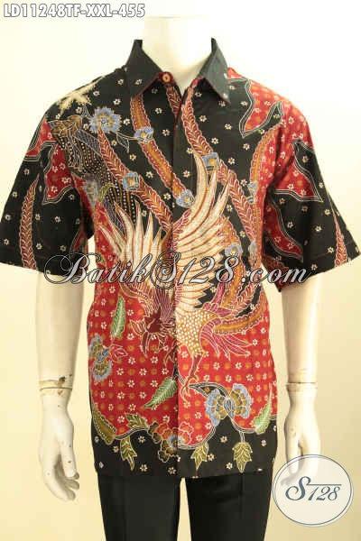 Koleksi Pakaian Batik Pria Terbaru, Busana Batik Jumbo Lengan Pendek Full Furing Bahan Halus Motif Bagus Proses Tulis, Exclusive Untuk Yang Berbadan Gemuk [LD11248TF-XXL]