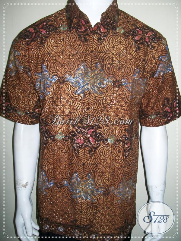 Batik Pria Warna Coklat Soga, Elegan Dan Eksklusif, Lengan Pendek [LD1197CO-L]