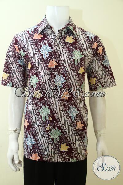 Busana Batik Pria Muda Karir Aktif, Hem Batik Lengan Pendek Keren Motif Modern Model Lengan Pendek Pas Buat Kerja [LD3569C-L]