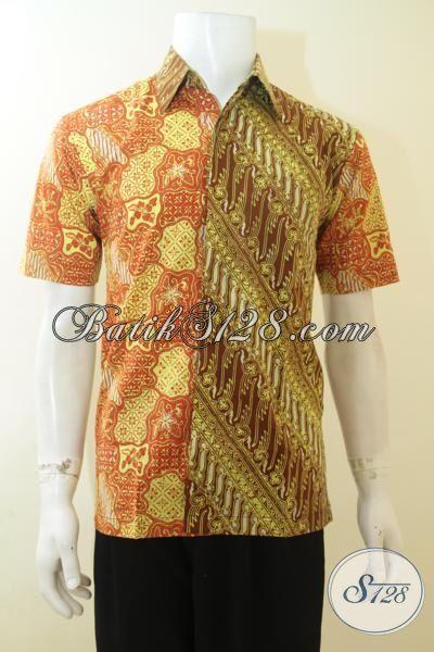 Kemeja Batik Dua Motif Ukuran Kecil, Hem Batik Lengan Pendek Untuk Remaja Pria Tampil Keren Dan Modis [LD3976CT-S]
