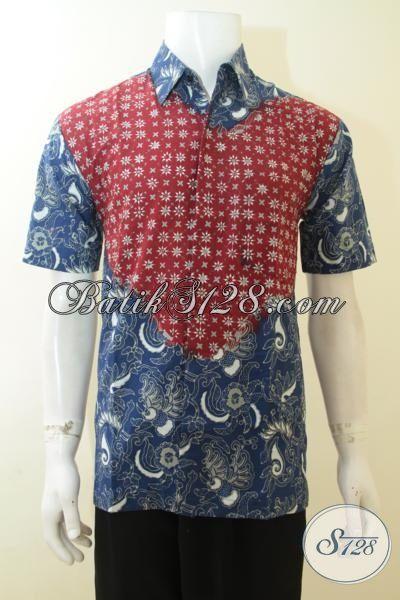 Hem Batik Keren Untuk Kerja, Baju Batik Warna Biru Kombinasi Merah, Batik Lengan Pendek Dua Khas Anak Muda Masa Kini [LD3979CT-M]