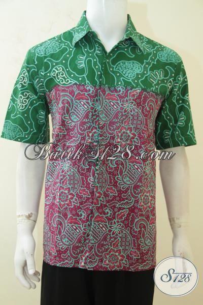 Hem Batik Dual Motif, Baju Batik Merah Kombinasi Hijau Proses Cap Tulis, Busana Batik Keren Lelaki Semakin Gagah Berwibawa [LD4168CT-L]