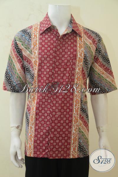 Baju Batik Klasik Modern, Busana Batik Kombinasi Warna Berkelas, Batik Cap Tulis Istimewa Lelaki Muda Masa Kini [LD4257CT-XL]