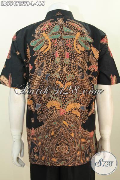 Hem Batik Premium Ukuran L, Kemeja Batik Halus Proses Tulis Soga Model Lengan Pendek Pake Furing, Baju Batik Elegan Bikin Cowok Lebih Berwibawa [LD5547TSF-L]
