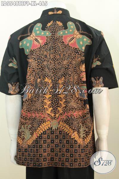 Baju Kemeja Batik Elegan Mewah Proses Tulis Warna Soga, Hem Batik Premium Lengan Pendek Full Furing Pria Dewasa Terlihat Gagah [LD5548TSF-XL]