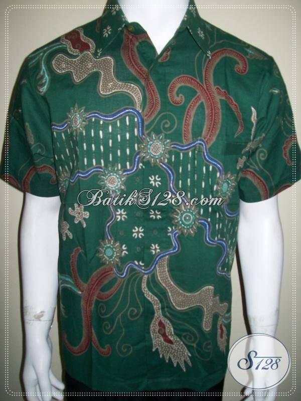 Batik Kerja Pria Modern Warna Hijau Keren, Batik Tulis Solo [LD565T-M]