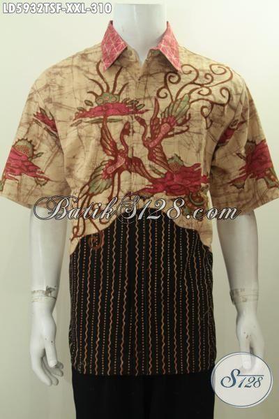 Contoh kemeja batik kombinasi motif pria jenis batik tulis