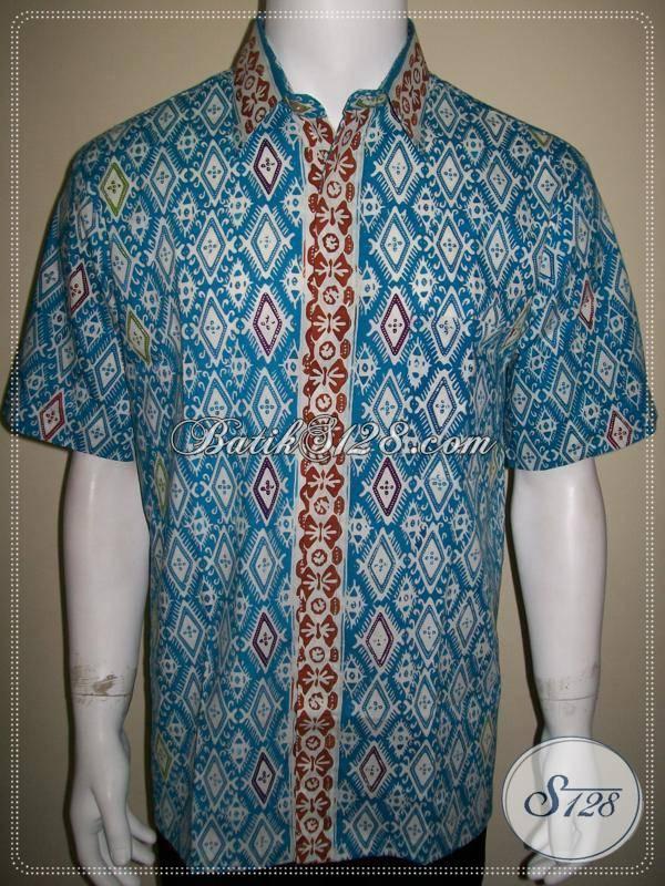 Jual Hem Batik Biru Keren Harga Murah Online, Batik Solo [LD602CC-L]