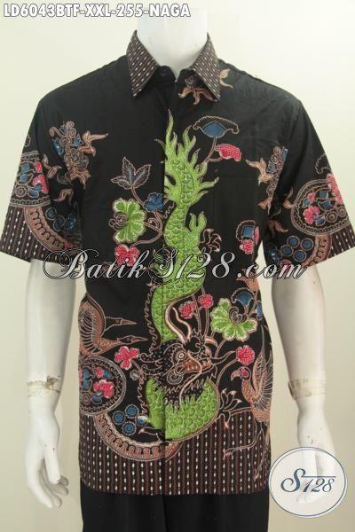 Baju Kemeja Batik Pria Gemuk, Produk Pakaian Batik 3L Motif Naga Dasa Hitam Proses Kombinasi Tulis, Busana Batik Solo Lengan Pendek Full Furing Untuk Pria Gemukj [LD6043BTF-XXL]
