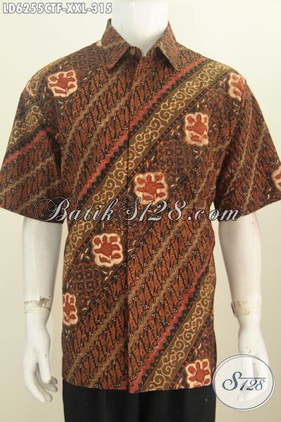 Baju Hem Batik Klasik Proses Cap Tulis Ukuran Jumbo, Berbahan Halus Daleman Full Furing Elegan Buat Seragam Kerja [LD6255CTF-XXL]