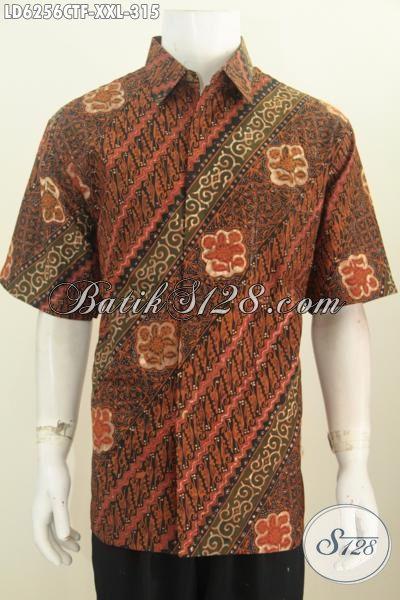 Sedia Produk Kemeja Batik Pria Gemuk Untuk Kerja, Hem Batik Halus Lengan Pendek Pakai Furing Bahan Adem Proses Cap Tulis Harga 300 Ribuan [LD6256CTF-XXL]
