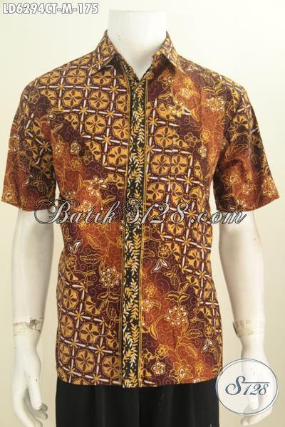 Jual Online Produk Busana Batik Terkini Buat Lelaki Muda, Baju Batik Modis Lengan Pendek Ukuran M Bahan Halus Motif Terbaru Harga 175K [LD6294CT-M]