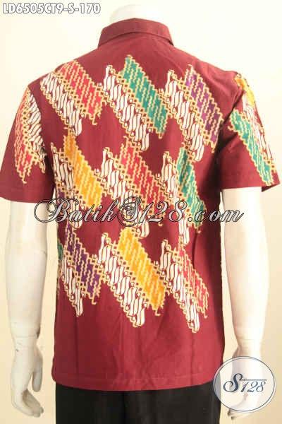 Hem Batik Lengan Pendek Merah Berkelas Kwalitas Bagus, Busana Batik Elegan Motif Kombinasi Yang Bikin Lelaki Tambah Keren Dan Gagah [LD6505CT-S]