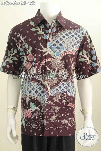 Pakaian Batik Modis Halus Lengan Pendek Full Furing, Baju Batik Kwalitas Premium Buatan Solo Indonesia Untuk Penampilan Lebih Berkelas [LD6675TF-XL]