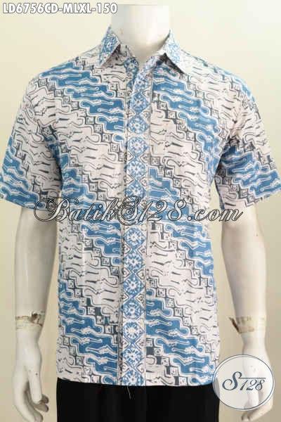Hem Batik Parang Dengan Kombinasi Warna Putih Biru, Baju Batik Cap Bledak Lengan Pendek Pas Buat Seragam Kerja Dan Pakaian Kondangan [LD6756CD-L]