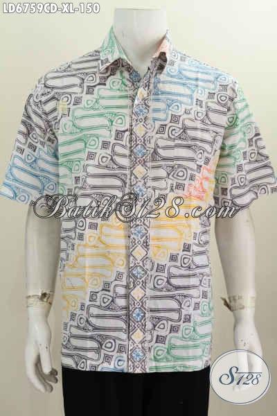 Jual Kemeja Batik Cap Bledak Buatan Solo, Baju Batik Trendy Motif Unik Model Lengan Pendek Kwalitas Bagus Hanya 150K [LD6759CD-XL]
