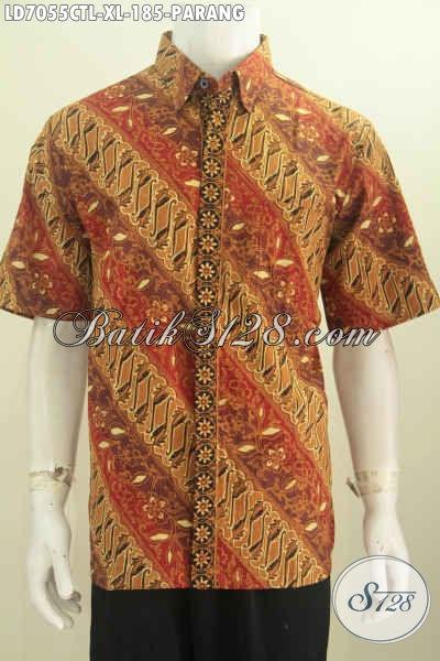 Baju Hem Batik Lengan Pendek Halus Motif Parang, Pakaian Batik Trend Masa Kini Berbahan Halus Buatan Solo Asli Proses Cap Tulis Lasem [LD7055CTL-XL]