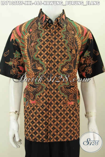 Hem Batik Lengan Pendek Mewah Motif Kawung Burung Elang, Baju Batik 3L Proses Tulis Soga Daleman Pakai Furing Tampil Lebih Istimewa [LD7132TSF-XXL]