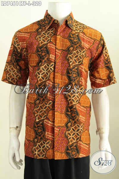 Kemeja Batik Lengan Pendek Desain Terkini Motif Bagus Proses Cap Tulis Harga 320 Daleman Full Furing [LD7461CTF-L]