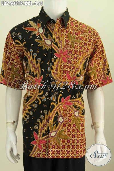 Baju Batik 3L, Hem Batik Jumbo Pria Terkini Bahan Halus Motif Istimewa Daleman Full Furing Model Lengan Pendek Cocok Untuk Lelaki Gemuk [LD7505TF-XXL]