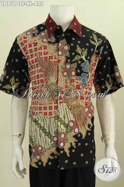 Jual Kemeja Batik Lengan Pendek Size XL, Baju Batik Halus Motif Mewah Proses Tulis Cocok Buat Kerja Dan Kondangan Daleman Full Furing [LD7510TF-XL]