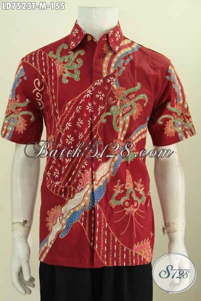 Agen Baju Batik Online, Sedia Hem Batik Lengan Pendek Merah Motif Bagus Proses Tulis Hanya 100 Ribuan [LD7523T-M]