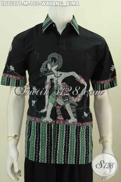 Hem Batik Halus Keren Modis Cocok Buat Gaul, Pakaian Batik Wayang Bima Proses Tulis Model Lengan Pendek Harga 155 Ribu Saja [LD7527T-M]