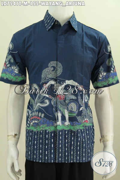 Hem Batik Wayang Warna Biru Motif Arjuna, Baju Batik Solo Proses Tulis Harga 155K [LD7541T-M]