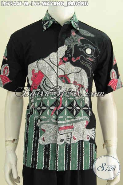 Kemeja Batik Keren Modis Lengan Pendek, Baju Batik Halus Motif Bagong Kwalitas Istimewa Untuk Penampilan Lebih Tampan Dan Gagah [LD7544T-M]