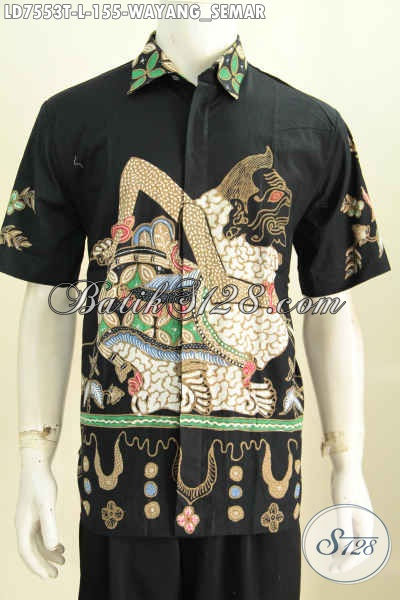Baju Batik Solo Terkini, Hem Batik Jawa Halus Proses Tulis Motif Semar Untuk Santai Dan Resmi Ukuran L [LD7553T-L]
