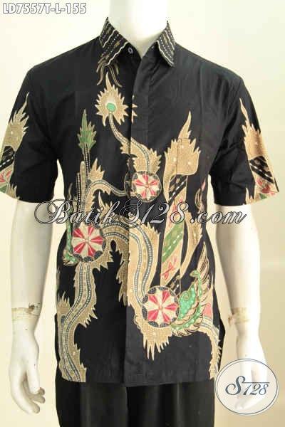 Jual Online Pakaian Batik Keren, Hem Batik Halus Lengan Pendek Proses Tulis Motif Terkini Pas Banget Buat Hangout [LD7557T-L]
