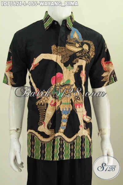 Hem Batik Wayang Bima, Baju Batik Keren Warna Bagus Proses Tulis Model Lengan Pendek Untuk Pria Terlihat Berkarakter [LD7562T-L]