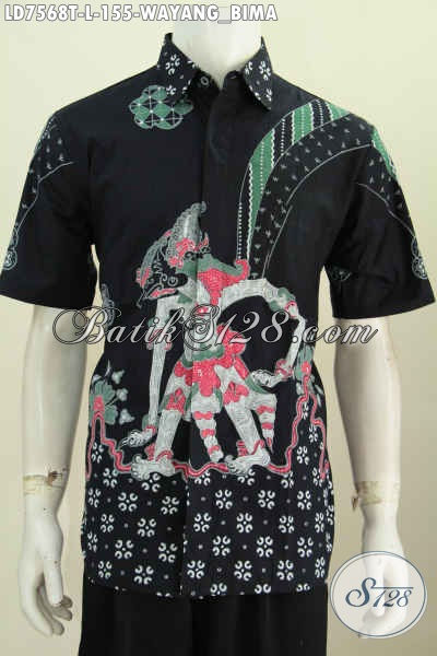 Baju Batik Solo Kekinian, Pakaian Batik Elegan Mewah Halus Proses Tulis Model Lengan Pendek Untuk Penampilan Lebih Istimewa Dan Gaya [LD7568T-L]