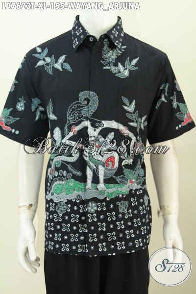 Baju Hem Batik Solo Motif Toko Wayang Arjuna, Busana Batik Tulis Istimewa Di Jual Online Harga Biasa, Model Lengan Pendek [LD7623T-XL]