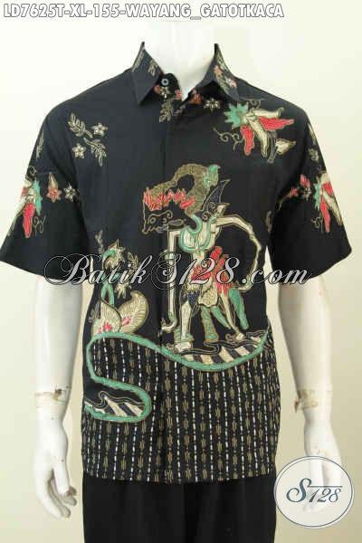 Hem Lengan Pendek Halus Motif Gatotkaca, Pakaian Batik Solo Proses Tulis, Cocok Buat Ke Kantor Dan Hangout [LD7625T-XL]