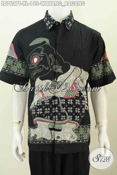 Jual Baju Batik Wayang Motif Bagong Online, Pakaian Batik Lengan Pendek Ukuran XL Proses Tulis Tampil Makin Modis Dan Keren [LD7627T-XL]