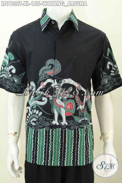 Produk Pakaian Batik Jawa Terkini, Hem Batik Halus Lengan Pendek Kwalitas Istimewa Motif Arjuna Proses Tulid Hanya 150 Ribuan [LD7632T-XL]
