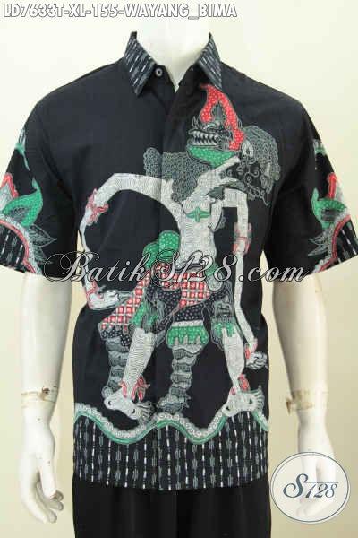 Baju Batik Bagus Wayang Bima, Pakaian Batik Lengan Pendek Proses Tulis Buatan Solo Indonesia Yang Bikin Pria Terlihat Istimewa [LD7633T-XL]