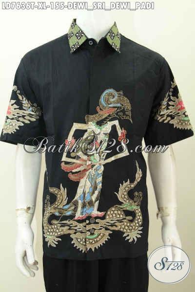 Baju Batik Solo Modis, Hem Batik Pria Lengan Pendek Size XL, Pakaian Batik Tulis Motif Wayang Dewi Sri Bikin Penampilan Lebih Tampan [LD7636T-XL]
