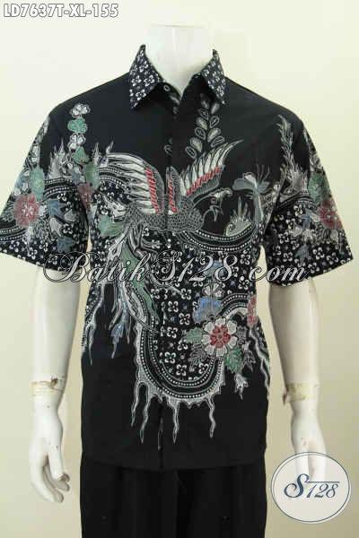 Hem Batik Trendy Waran Hitam Elegan Berpadu Motif Keren Yang Bikin Pria Terlihat Modis Dan Berkelas, Bahan Adem Proses Tulis Model Lengan Pendek [LD7637T-XL]
