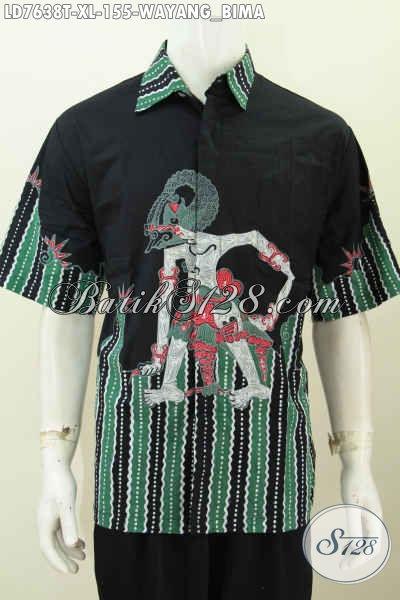 Koleksi Terkini Baju Batik Jawa Lengan Pendek Motif Wayang Bima Trend Mode 2018, Busana Batik Tulis Istimewa Untuk Penampilan Makin Gaya [LD7638T-XL]