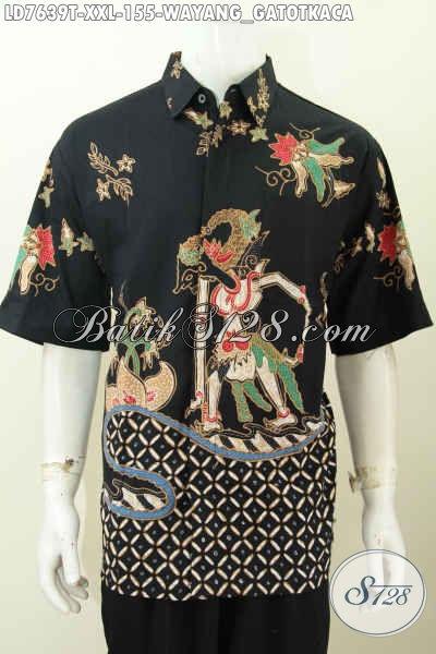 Baju Batik Jumbo, Hem Batik Wayang Gatotkaca 3L Spesial Untuk Pria Gemuk Model Lengan Pendek Proses Tulis Harga 155K [LD7639T-XXL]