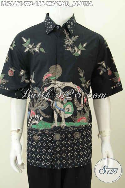 Hem Batik Jumbo Motif Wayang Arjuna, Pakaian Batik Solo Lengan Pendek Proses Tulis Bisa Untuk Santai Dan Resmi [LD7645T-XXL]