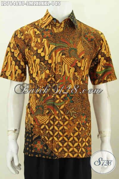 Jual Hem Batik Halus Lengan Pendek Motif Klasik, Baju Batik Solo Istimewa Proses Kombinasi Tulis Tampil Elegan Dan Gagah [LD7646BT-XL]
